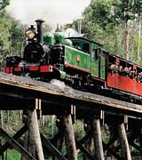 Puffing Billy Train crossing a wooden bridge